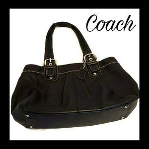 Authentic Black Leather Coach Shoulder Bag